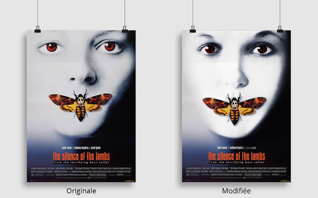 Comparaison de l'affiche originale et du photomontage